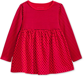 First Impressions Long-Sleeve Stripes & Dots Babydoll Tunic, Baby Girls (0-24 months), Only at Macy's $13 thestylecure.com