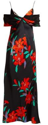 Diane von Furstenberg Argos Floral Print Silk Satin Dress - Womens - Black Print