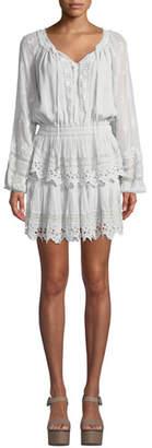 LoveShackFancy Embroidered Popover Short Dress