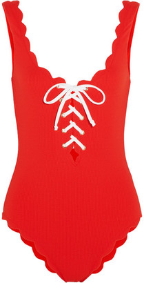 Palm Springs Lace-up Scalloped Swimsuit - Red