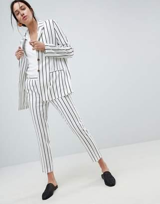 Asos Design Tailored Linen Longline Relaxed Blazer In Stripe