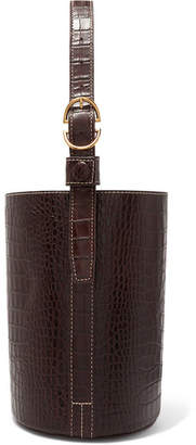 Trademark - Small Croc-effect Leather Bucket Bag - Brown