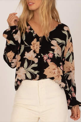 Amuse Society Black Floral Blouse
