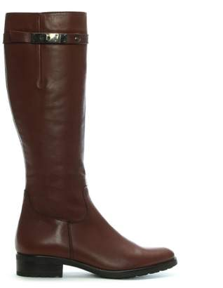 Lamica Tan Leather Top Strap Knee Boots
