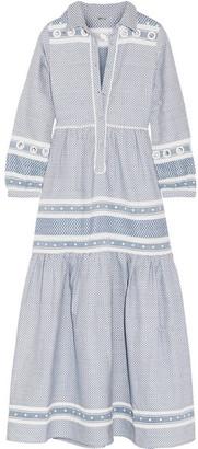 Dodo Bar Or - Embellished Cotton-jacquard Maxi Dress - Blue $540 thestylecure.com
