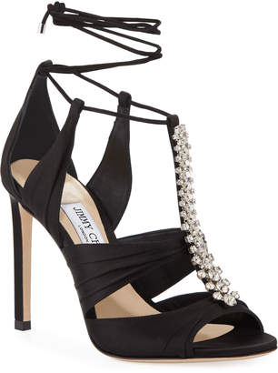 Jimmy Choo Kenny Satin Crystal Sandals