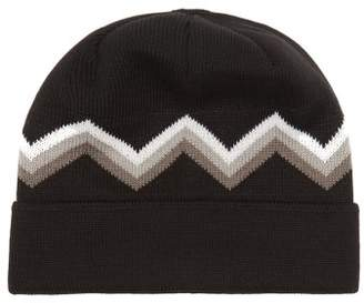 Perfect Moment - Zigzag Intarsia Wool Blend Beanie Hat - Womens - Black Multi