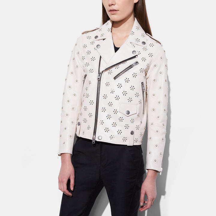Coach   COACH Coach Moto Jacket With Whipstich Eyelet