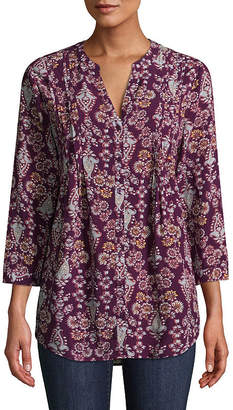 ST. JOHN'S BAY 3/4 Sleeve Pleated Button Front Tunic - Tall