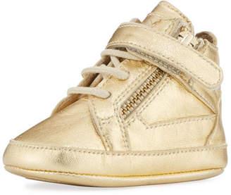 Giuseppe Zanotti Kids' Unisex Metallic Leather High-Top Sneakers, Yellow, Infant