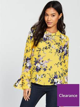 Warehouse Trailing Floral Pleat Cuff Top - Yellow