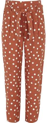 River Island Girls brown spot print tapered trousers