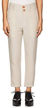Yohji Yamamoto Regulation Women's Basket-Weave Linen Slim Ankle Pants - Ivory