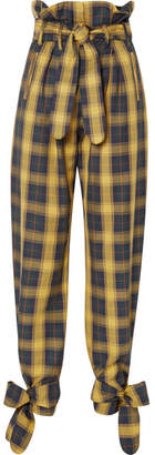 ATTICO Tie-detailed Belted Checked Cotton-twill Straight-leg Pants - Yellow