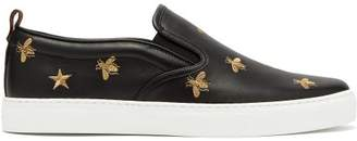 0286ae8980c Gucci Dublin Embroidered Leather Slip On Trainers - Mens - Black Multi