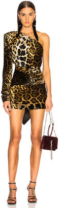 Saint Laurent Velvet Leopard Print One Shoulder Draped Mini Dress