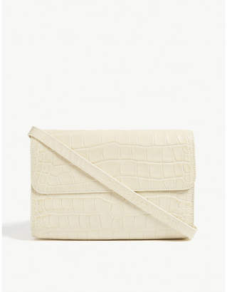 BY FAR Croc-embossed clutch bag