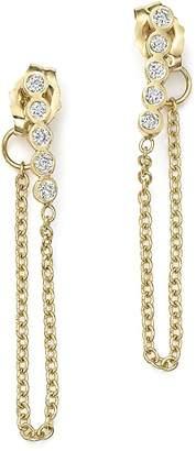 Zoë Chicco 14K Yellow Gold Draped Chain and Bezel Diamond Bar Stud Earrings