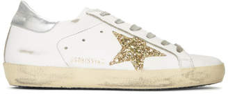 Golden Goose White and Gold Glitter Superstar Sneakers
