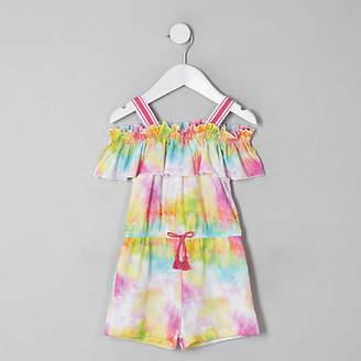 River Island Mini girls pink tie dye frill romper