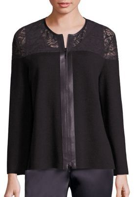 Lafayette 148 New York Lace-Trim Wool Cardigan $498 thestylecure.com
