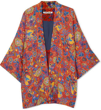 Elizabeth and James Drew Floral-print Crepe Kimono - Orange