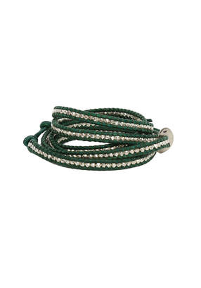 Chan Luu Green Leather Wrap Bracelet