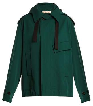 Marni Oversized Bonded Wool And Cotton Blend Coat - Womens - Green