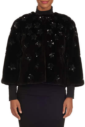 Oscar de la Renta Sequined Mink-Fur Jacket
