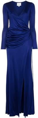 Galvan Allegra ruched side high split maxi dress