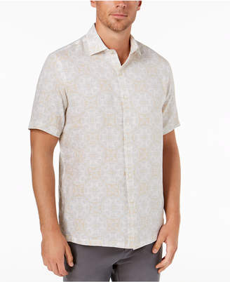 Tasso Elba Men Linen Medallion Shirt