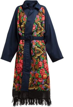 Vetements Reversible Floral Print Cotton Trench Coat - Womens - Navy