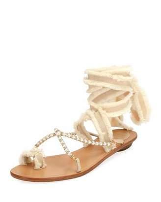 Rene Caovilla Pearlescent Ribbon Flat Sandal, Beige