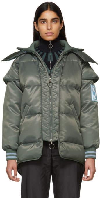 Grey Down Technic Maxi Puffer Jacket