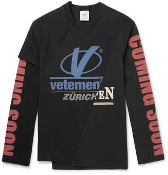 Vetements Cut & Sew Slim-Fit Printed Cotton-Jersey Sweatshirt