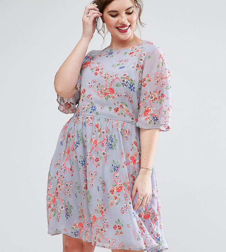 ASOS Curve ASOS CURVE PREMIUM Pretty Skater mini dress with Sheer Fluro Floral Embroidery