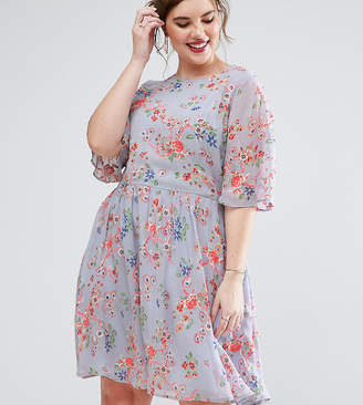 Asos Premium Pretty Skater Mini Dress With Sheer Fluro Floral Embroidery