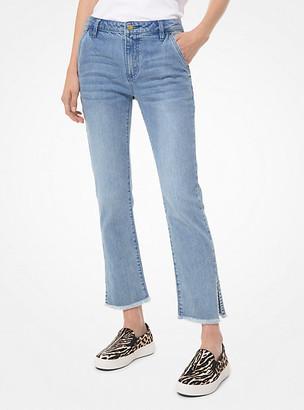 Michael Kors Stretch Denim High-Rise Split-Hem Jeans