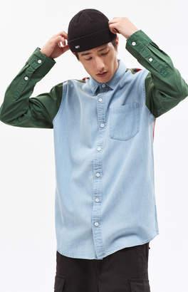 PacSun Mixed Up Denim & Plaid Long Sleeve Shirt