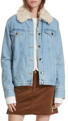 Frame Le Curly Faux Shearling Collar Denim Jacket