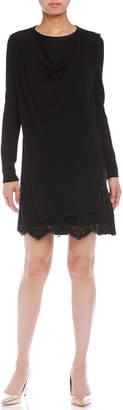 Blumarine (ブルマリン) - Blumarine カシミヤ混 ニットx布帛 レイヤードデザイン 長袖ドレス ブラック 38