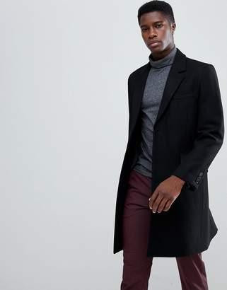 Asos DESIGN wool mix overcoat in black