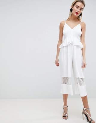 Asos Design DESIGN Cami Jumpsuit With Peplum And Lace Insert