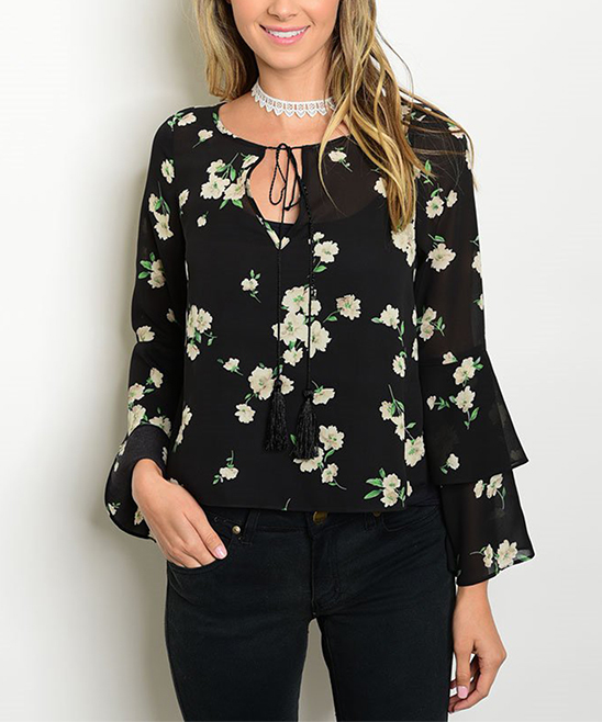 Black Floral Tiered Top