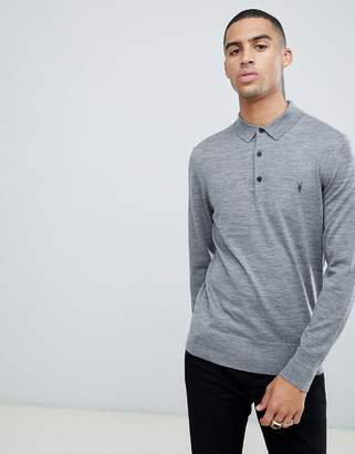 AllSaints 100% merino long sleeve polo in gray marl with ramskull logo