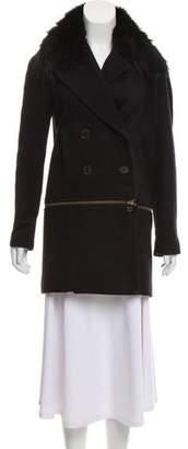 Veronica Beard Fur-Trimmed Zipp-Accented Jacket