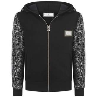 Philipp Plein Philipp PleinGirls Sign In Crystal Black Zip Up Top