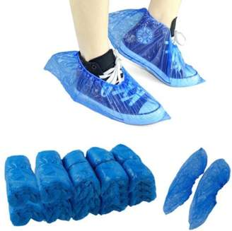 HiCoup 100Pcs Disposable Plastic Anti Slip Shoe Covers Cleaning Protective Overshoes