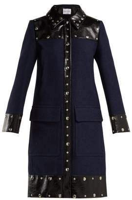 Sonia Rykiel Stud Embellished Wool Blend Coat - Womens - Navy