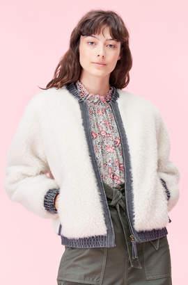 Rebecca Taylor La Vie Faux Fur & Denim Jacket